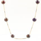 "Classic Womens Vintage Estate 14K Yellow Gold Black Pearl 17"" Necklace"