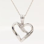 "Classic Modern Ladies 10K White Gold Diamond Heart Pendant 18"" Chain Necklace"