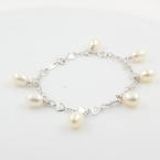 Classic  Ladies 14K White Gold Cultured Drop Pearl Statement Bracelet