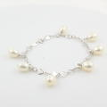 NEW Modern Ladies 14K White Gold Cultured Drop Pearl Statement Bracelet