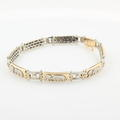 Modern Estate 14K Two Tone Yellow and White Gold Elephant Nature Bracelet