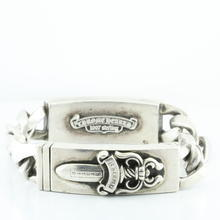 Authentic Chrome Hearts Dagger Floral Cross Double ID Sterling Silver Bracelet