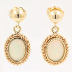 Estate Retro 14K Yellow Gold Opal Push Back Drop Earrings