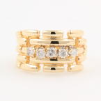 Retro Estate 14K Yellow Gold Diamond Link Right Hand Ring Band