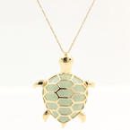 "Modern Estate 10K Yellow Gold Jade Turtle Pendant 21"" Chain"