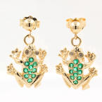 Modern Estate 14K Yellow Gold Green Zirconia Frog Push Back Drop Earrings