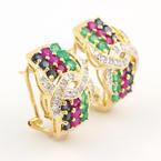 Modern Estate 14K Yellow Gold Ladies Emerald Spinel Diamond French Back Earrings