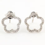 Modern Estate 14K White Gold Diamond Flower Push Back Earrings