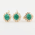 Vintage Estate 10K Yellow Gold Green Cabochon Two Piece Ring Earrings Jewelry Set