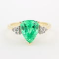 Retro Estate 10K Yellow Gold Fancy Green Spinel Diamond 2.98CTW Cocktail Right Hand Ring
