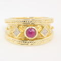 Retro Estate Vintage 14K Yellow Gold Princess Cut Diamond Spinel Cabochon Right Hand Ring Band