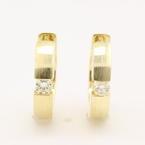 Classic Ladies 14K Yellow Gold VS Diamond 0.20CTW Hoop Huggie Earrings