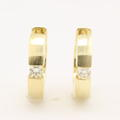 Classic Ladies 14K Yellow Gold VS Diamond 0.20CTW Hoop Huggie Earrings