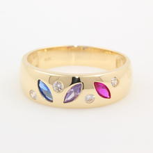 NEW Modern 14K Yellow Gold Multi-Gem Blue Purple Red Right Hand Ring Band