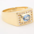 Modern Estate Men's 14K Yellow Gold Aqua Gem Zircon Ring Band