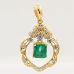 Retro Vintage Estate 18K Yellow Gold Diamond Green 1.00CTW Statement Pendant