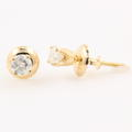 NEW Classic 14K Yellow Gold Diamond Stud Screw Back Earrings Jewelry
