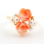 Vintage Estate 14K Yellow Gold  Rose Cut Flower White Pearl Ring