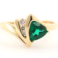 Vintage Retro Estate 14K Yellow Gold Green Trilliant Diamond  Right Hand Cocktail Ring