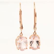 Modern Estate 10k Rose Gold Pink Oval Drop French Back Earrings