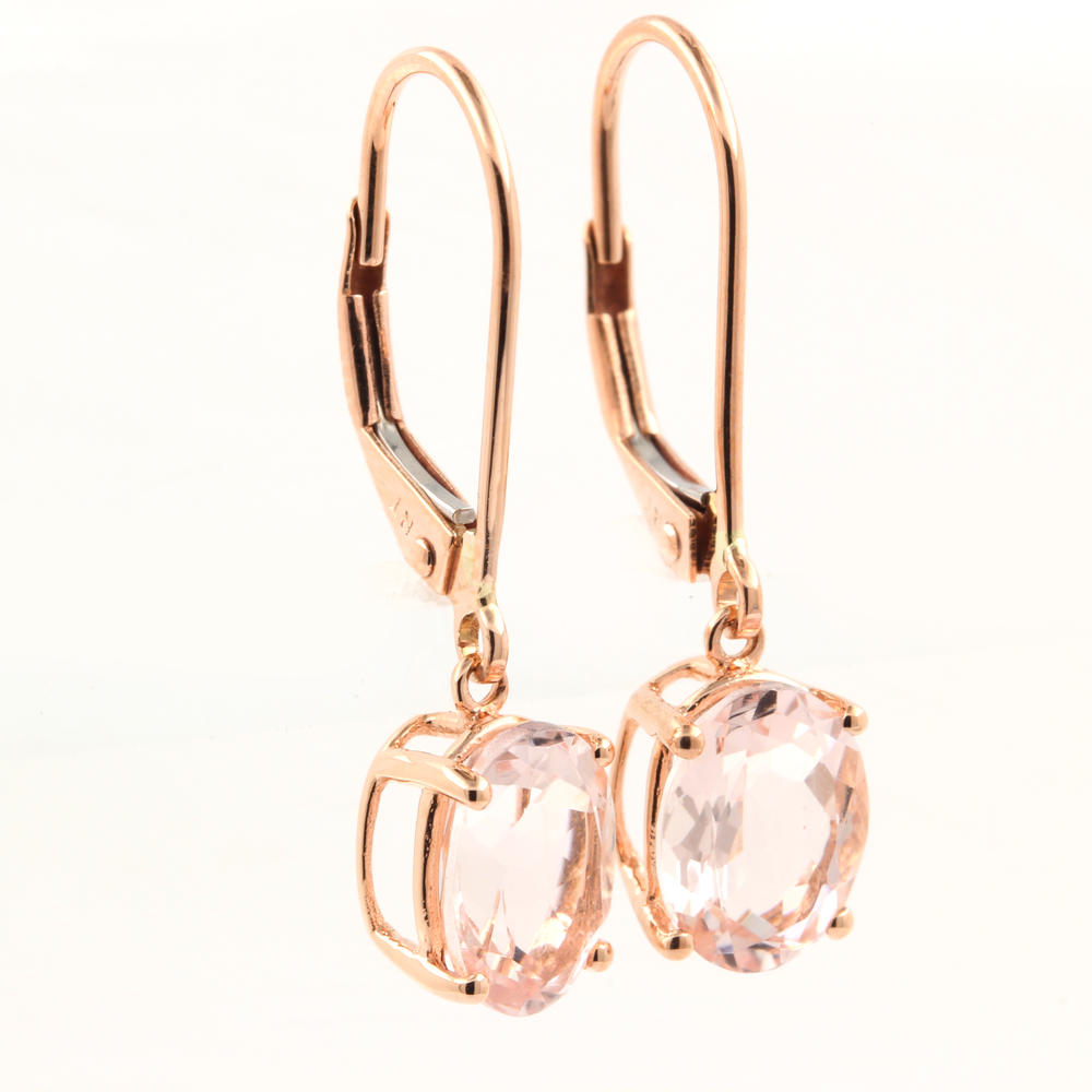 Earrings→ Modern Estate 10k Rose Gold Pink Oval Drop French Back Earrings
