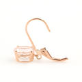 Modern Estate 10k Rose Gold Pink Oval Drop French Back Earrings