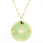 "Vintage Estate 14K Yellow Gold Jade Pendant and 25"" Chain Necklace Jewelry"