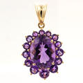 Vintage Estate Retro 14K Yellow Gold Purple Oval Cut Cluster  Pendant