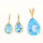 Retro Estate 14K Yellow Gold Pear Cut Blue Gemstone 2PC Pendant Earrings Jewelry Set