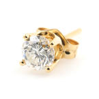 Classic Modern 14K Yellow Gold Natural Diamond Single 0.25ctw Push Back Stud Earring