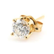 Classic Modern 14K Yellow Gold Natural Diamond Single 0.25ctw Push Back Stud Earring