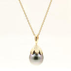 "Classic Vintage Estate 14K Yellow Gold Tahitian Drop Pearl Pendant and 18"" Chain"