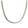 "Modern Estate 925 Sterling Silver Flat Snake Herringbone 16"" Spring Ring Clasp Chain"