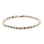 Estate Sterling Silver 925 Rope 7 inch Lobster Claw Clasp Bracelet