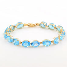 "Retro Vintage Estate 10K Yellow Gold Blue Oval Cut Gemstone 7"" Bracelet"