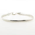 "Modern Estate 925 Sterling Silver Flat Snake Herringbone 7"" Lobster Claw Clasp Bracelet"