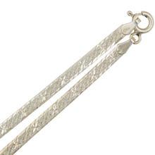 "Modern Estate 925 Sterling Silver Flat Snake Herringbone 20"" Spring Ring Clasp Chain"