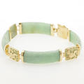"Estate Ladies 14k Yellow Gold Green Jade Dragon 7"" Bracelet Jewelry"
