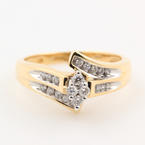 Vintage Estate 14K Yellow Gold Diamond KeepSake Bypass Right Hand Ring Jewelry