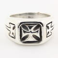 Estate Men's 925 Sterling Silver Celtic Cross Ring Band Sz.10.5