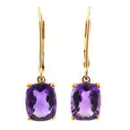 Retro Vintage Estate 10k Yellow Gold Checkerboard Amethyst Drop Earrings Jewelry