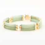 "Vintage Estate 14K Yellow Gold Jade Good Luck 7"" Bracelet Jewelry"