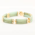 Exquisite Estate Ladies 14K Yellow Gold Jade Good Luck Bracelet Jewelry