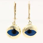 Estate Vintage 14K Yellow Gold Nazar Evil Eye Drop Earrings Jewelry