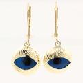 Estate Vintage 14K Yellow Gold Nazar Evil Eye Drop Earrings Jewelry