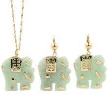 Unique Estate 14K Yellow Gold Jade Elephant Pendant Chain Earrings Two Piece Jewelry Set