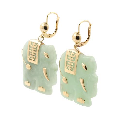 Unique Vintage Estate 14k Yellow Gold Jade Elephant Pendant Chain Earrings Set