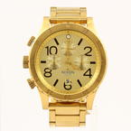 Nixon Men's 48-20 Chrono Gold Plated Stainless Steel Quartz Watch W Original Box