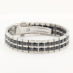 New IceLink IceLink Stainless Steel 2-Row Oval Black Ceramic Bracelet
