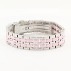 NEW ICELINK STAINLESS STEEL 2-ROW OVAL PINK CERAMIC BRACELET